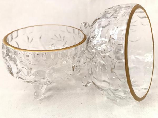 Altın Yaldızlı Kristal Cam Çerezlik 6 Parça