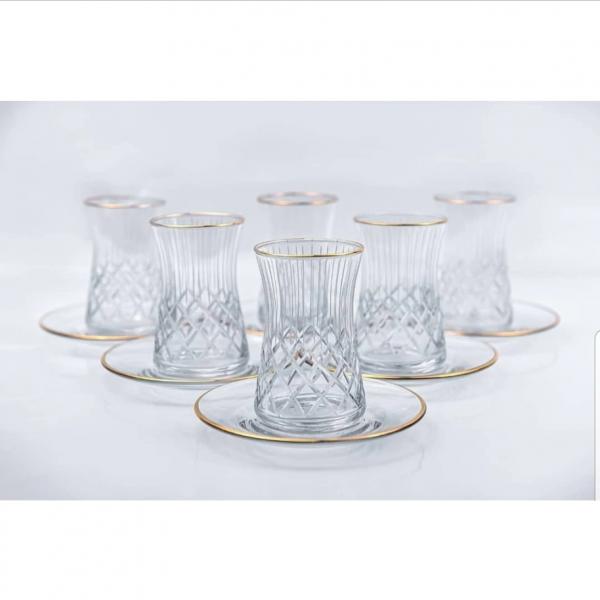 12 Parça Kristal Kesme Altın Yaldızlı Çay Seti