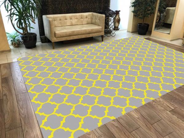 Veronya Gri ve Sarı Geometrik Şekil  Kaymaz Taban Modern Halı