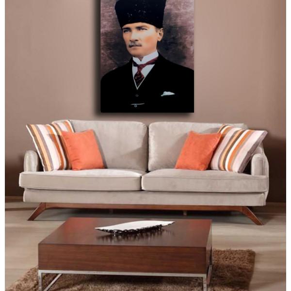 Veronya 3D Dijital Baskı  Led Işıklı Kanvas Tablo  Atatürk _2