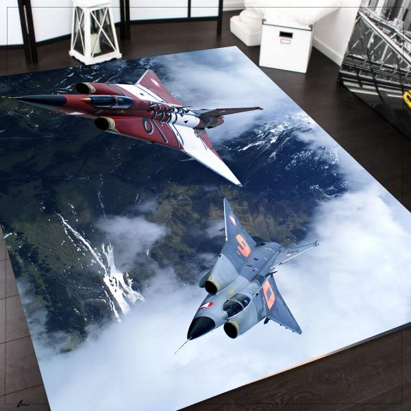 Herms Savaş Uçağı3 Desen,Kaymaz Taban Genç Odası Halısı 120x180