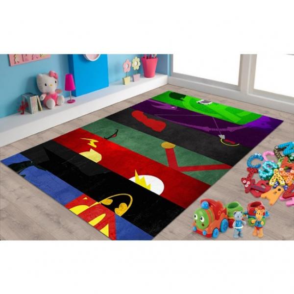 Herms Süper Kahramanlar Desenli Kaymaz Taban Çocuk Odası Halısı 160x230